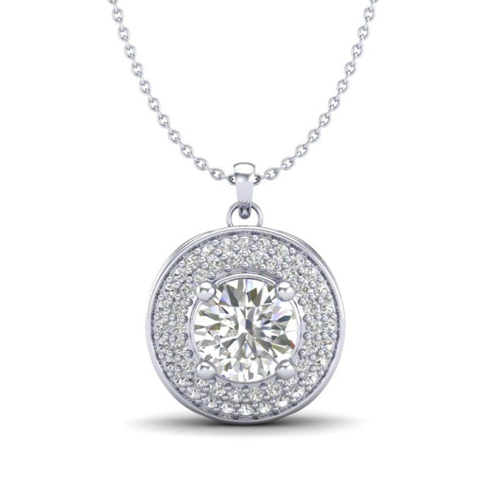 1.25 ctw VS/SI Diamond Solitaire Art Deco Necklace 18K White Gold - REF-272V7Y - SKU:37259