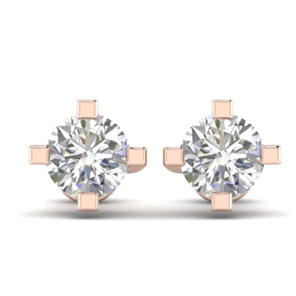 1 ctw VS/SI Diamond Solitaire Stud Earrings 14K Rose Gold - REF-145N3A - SKU:30400