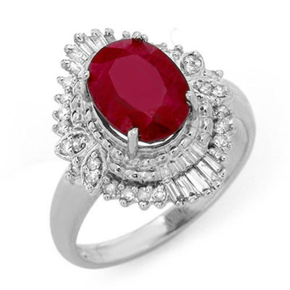 3.24 ctw Ruby & Diamond Ring 18K White Gold - REF-85R8K - SKU:13066