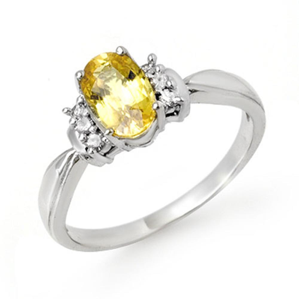 1.40 ctw Yellow Sapphire & Diamond Ring 18K White Gold - REF-40N9A - SKU:14073