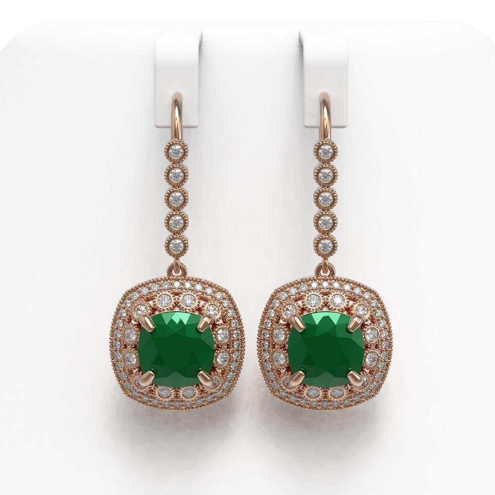 12.9 ctw Emerald & Diamond Earrings 14K Rose Gold - REF-266W9H - SKU:43953