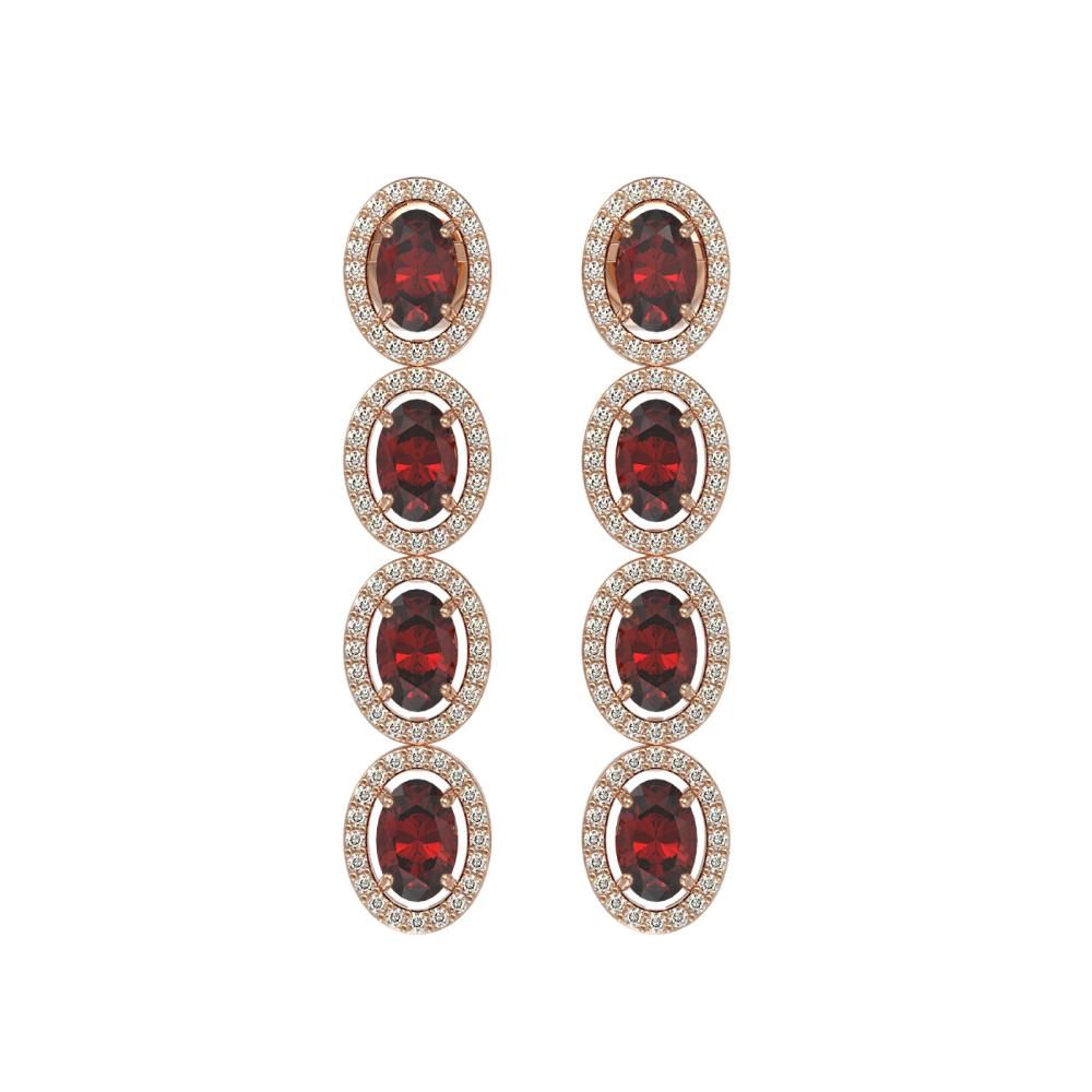 6.2 ctw Garnet & Diamond Halo Earrings Rose 10K Rose Gold - REF-125V5Y - SKU:40548