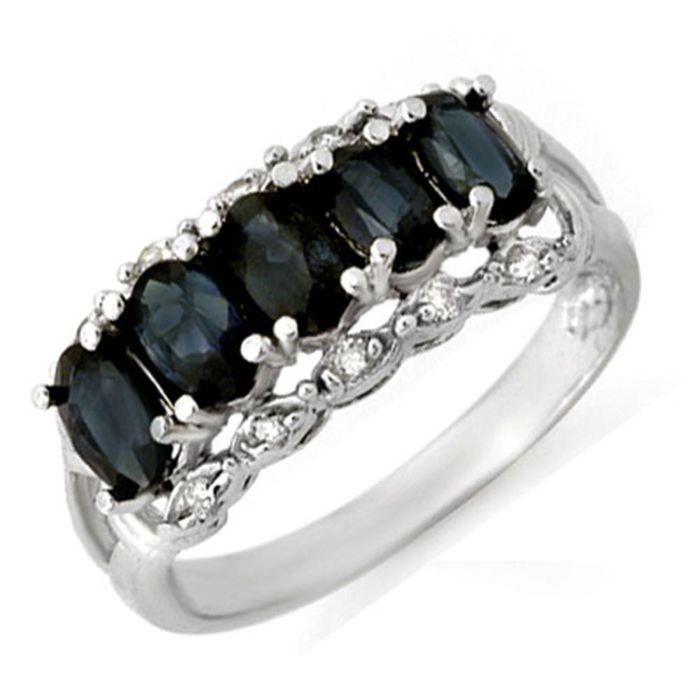 2.0 ctw Blue Sapphire & Diamond Ring 18K White Gold - REF-46Y4X - SKU:12423