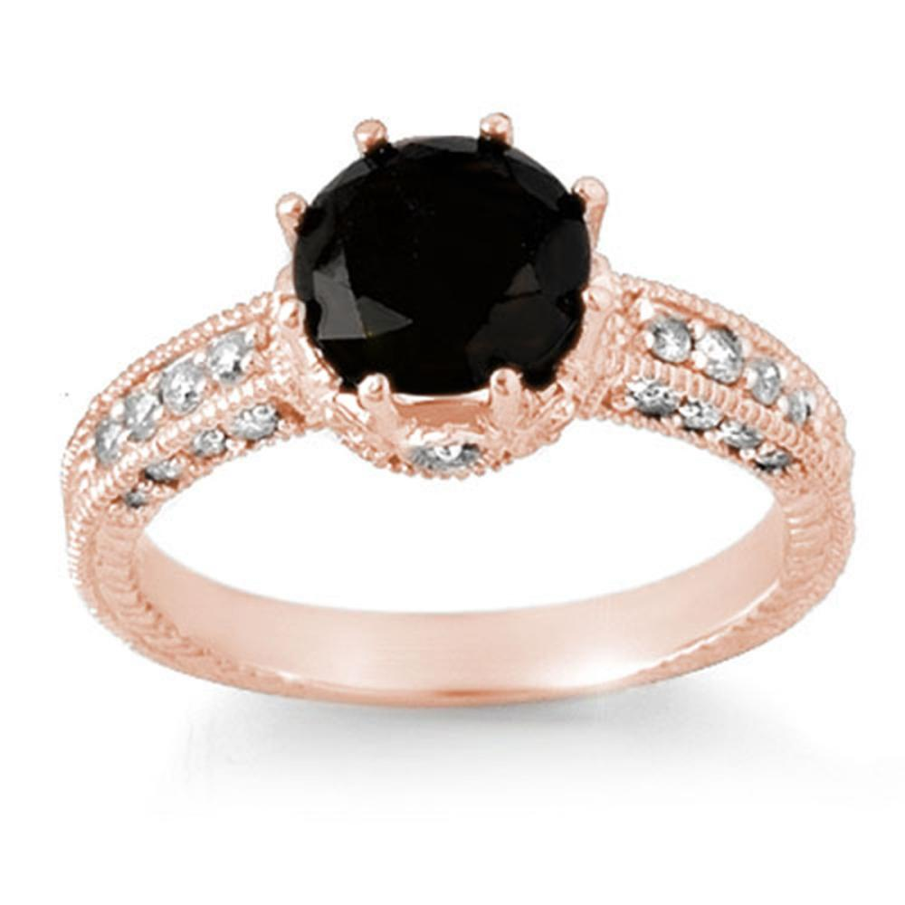 2.0 ctw VS Black & White Diamond Ring 14K Rose Gold - REF-100W2H - SKU:11808