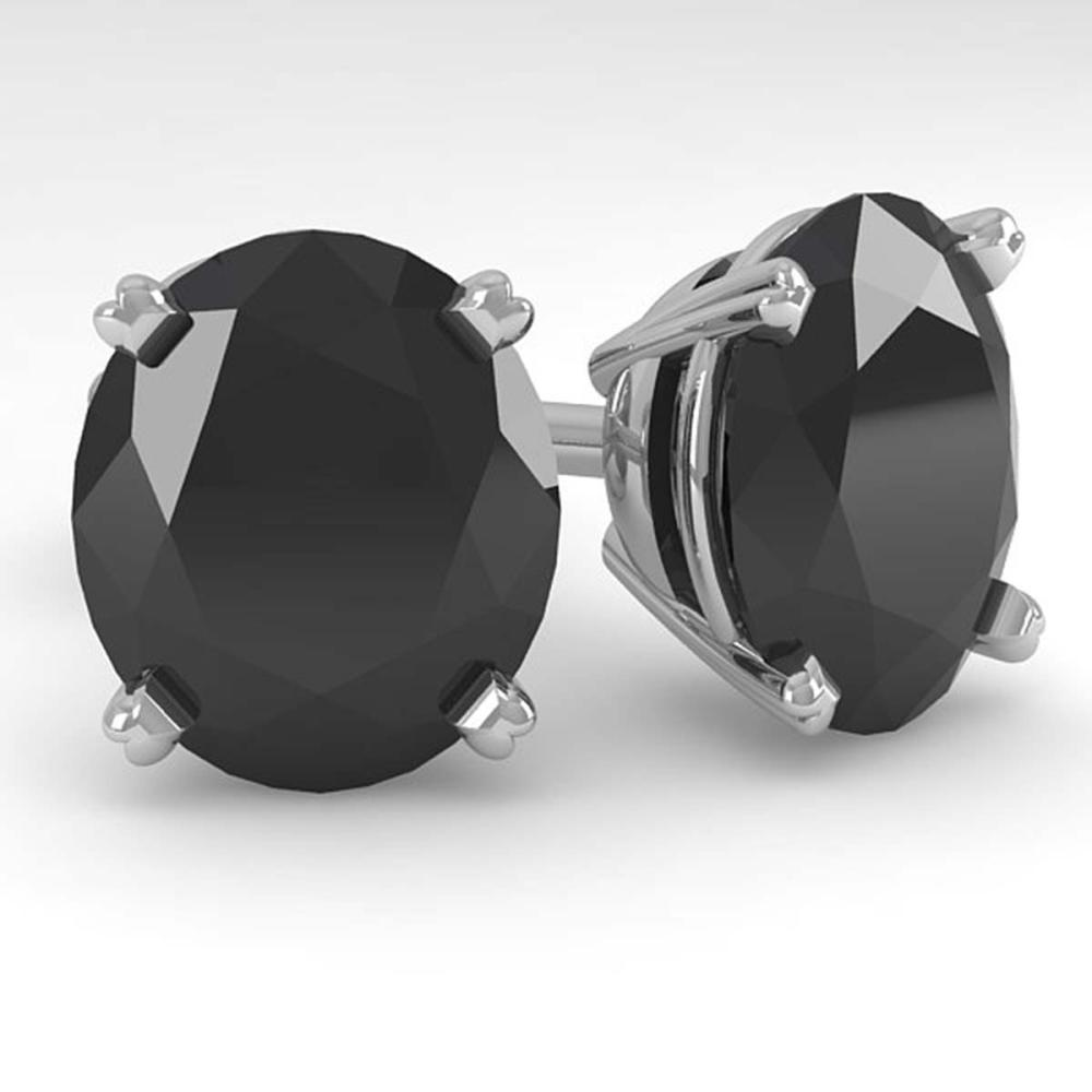 18.0 ctw Oval Black Diamond Stud Earrings 18K White Gold - REF-317Y3X - SKU:32337