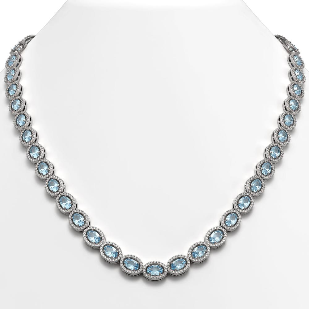 33.25 ctw Sky Topaz & Diamond Halo Necklace 10K White Gold - REF-501F5N - SKU:40430