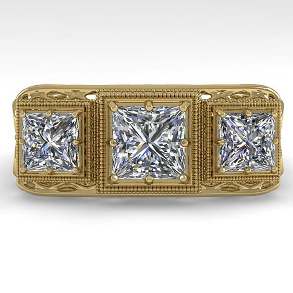 2 ctw Past Present Future Princess Diamond Ring 18K Yellow Gold - REF-481F6N - SKU:36070