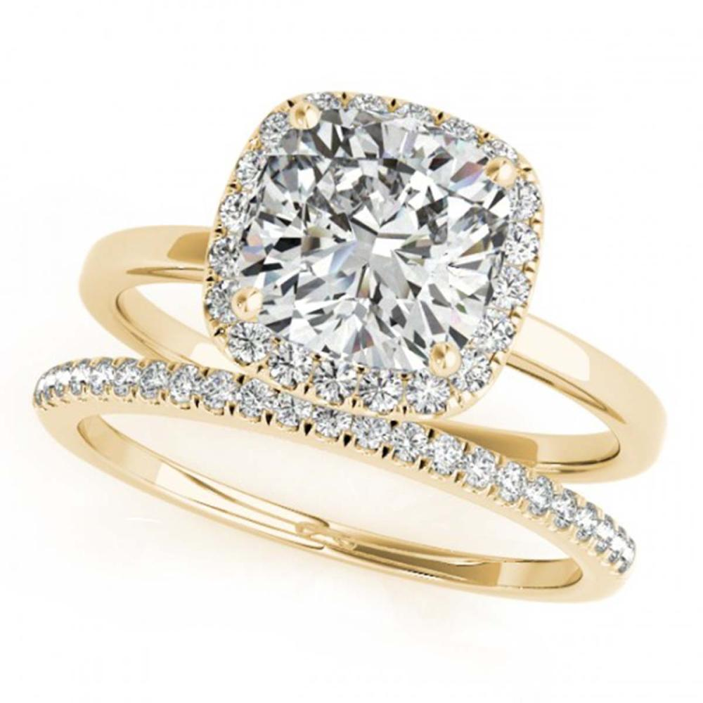 1.10 ctw VS/SI Cushion Diamond 2pc Set Halo 14K Yellow Gold - REF-171N7A - SKU:31411