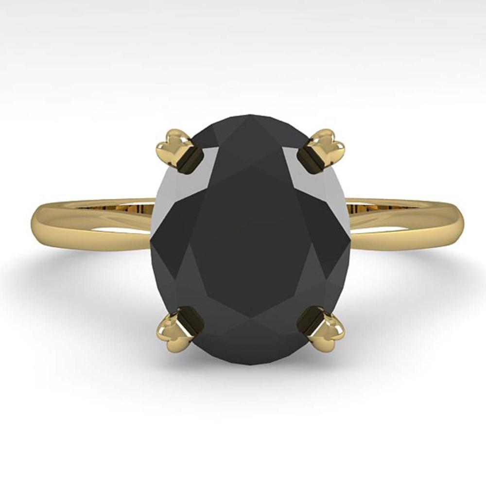 5.0 ctw Oval Black Diamond Ring 18K Yellow Gold - REF-147H2M - SKU:32452