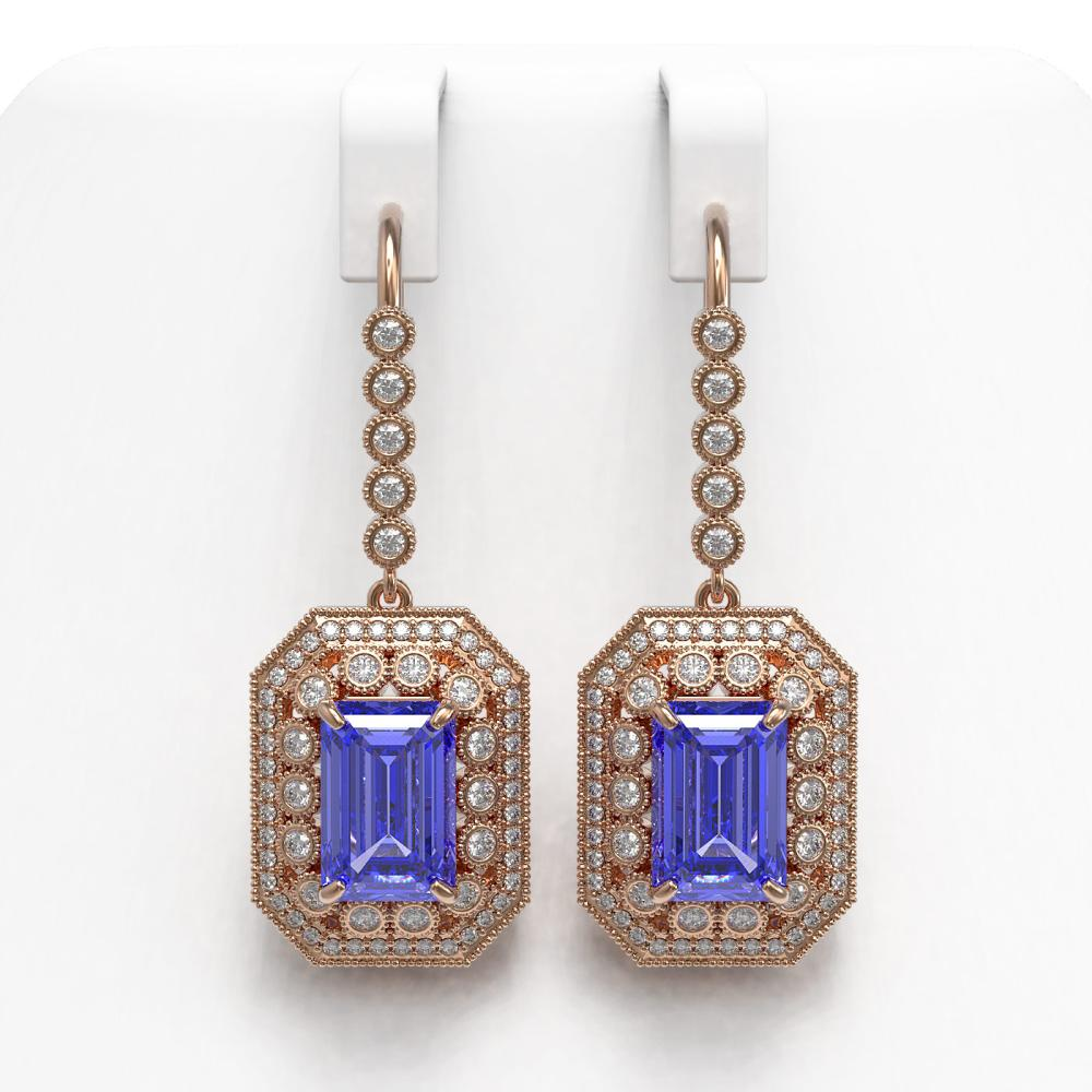 11.66 ctw Tanzanite & Diamond Earrings 14K Rose Gold - REF-484V7Y - SKU:43398