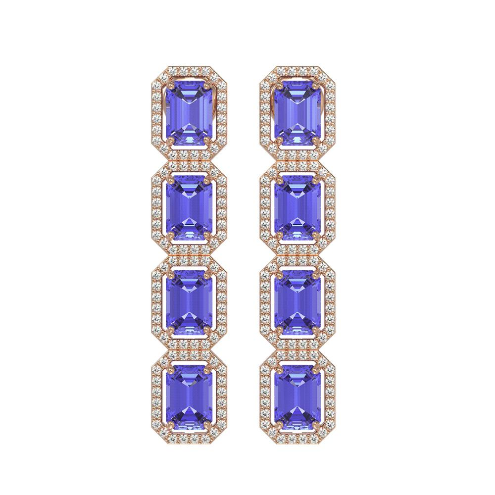 11.93 ctw Tanzanite & Diamond Halo Earrings 10K Rose Gold - REF-290R2K - SKU:41436