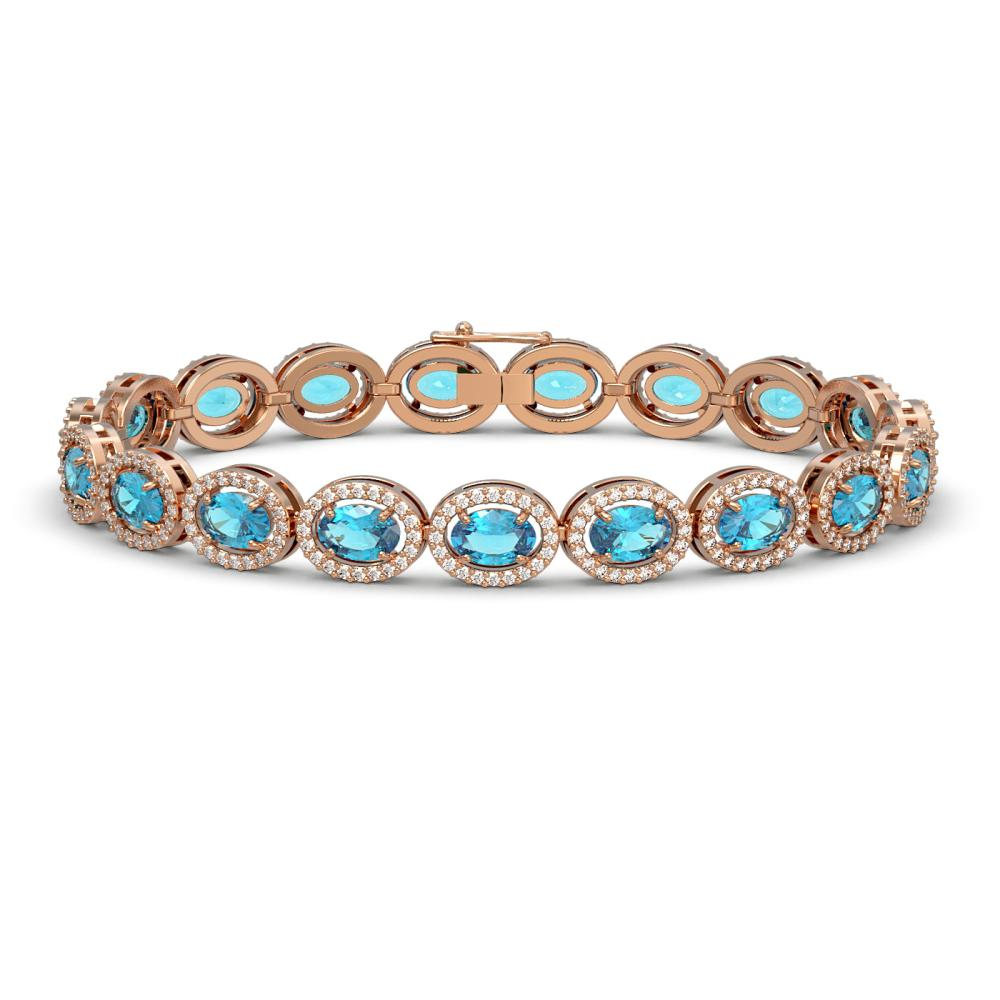 14.82 ctw Swiss Topaz & Diamond Halo Bracelet 10K Rose Gold - REF-230K4W - SKU:40485
