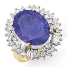 12.75 CTW Tanzanite & Diamond Ring 14K Yellow Gold - REF-455F6N - 14436