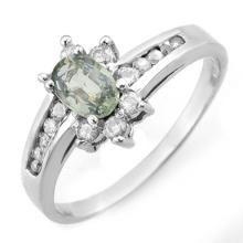 1.08 CTW Green Sapphire & Diamond Ring 10K White Gold - REF-30F8N - 11383
