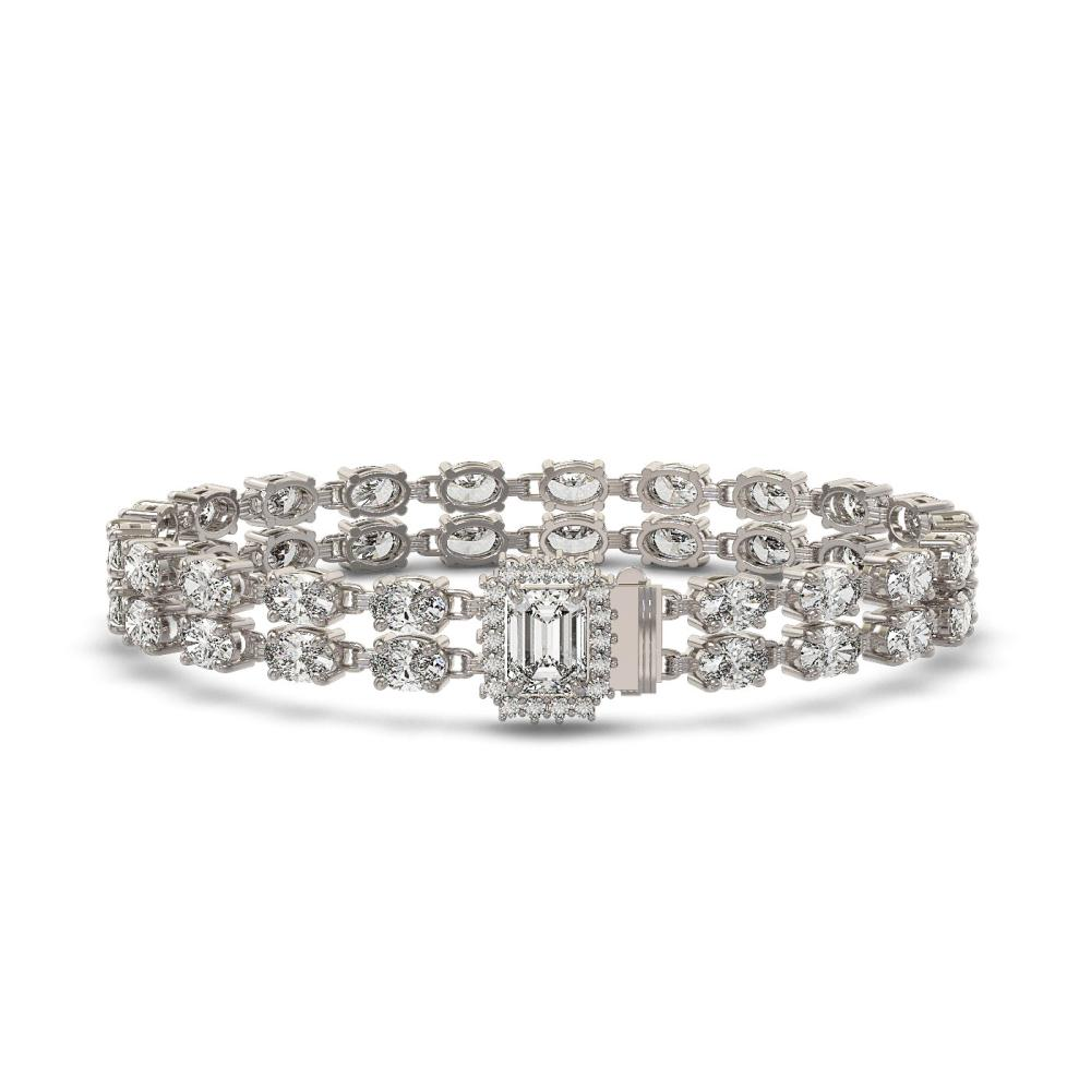 13.04 ctw Emerald Cut & Oval Diamond Bracelet 18K White Gold - REF-1261K9W - SKU:46233