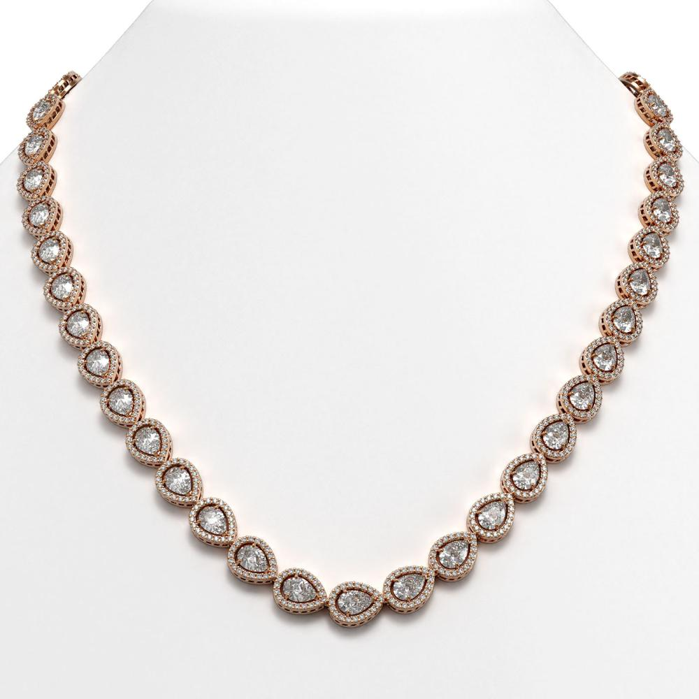 33.08 ctw Pear Diamond Necklace 18K Rose Gold - REF-4602W8H - SKU:42732
