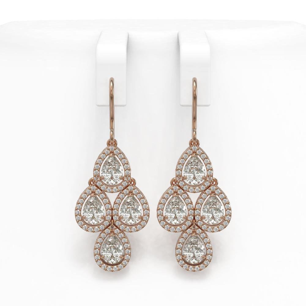 5.85 ctw Pear Diamond Earrings 18K Rose Gold - REF-817V6Y - SKU:42828