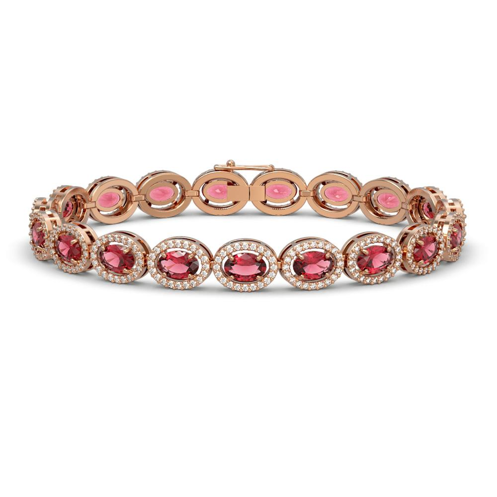 13.87 ctw Tourmaline & Diamond Halo Bracelet 10K Rose Gold - REF-309F3N - SKU:40470