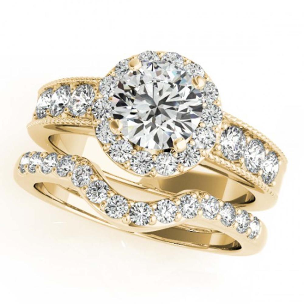 2.21 ctw VS/SI Diamond 2pc Wedding Set Halo 14K Yellow Gold - REF-324R7K - SKU:31315