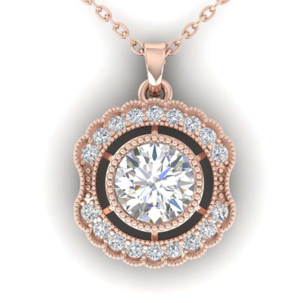 1.02 ctw VS/SI Diamond Art Deco Necklace 14K Rose Gold - REF-177V3Y - SKU:30544