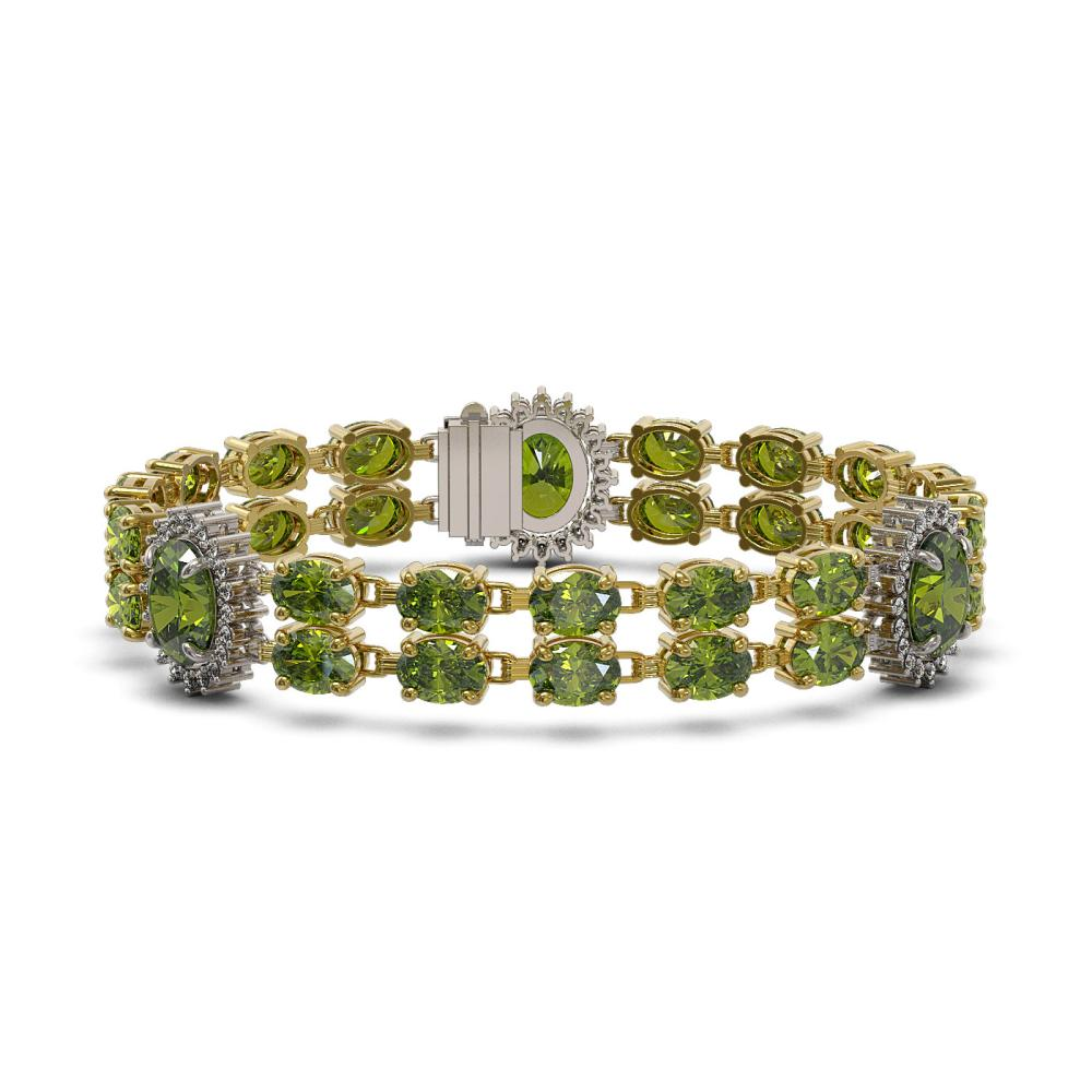 30.69 ctw Tourmaline & Diamond Bracelet 14K Yellow Gold - REF-286N5A - SKU:44419