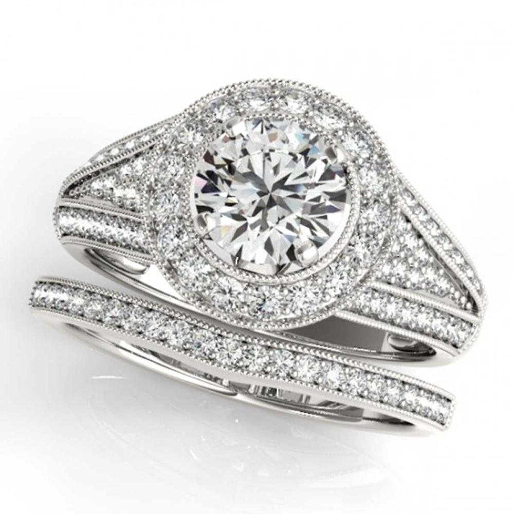 1.60 ctw VS/SI Diamond 2pc Wedding Set Halo 14K White Gold - REF-184M3F - SKU:31112