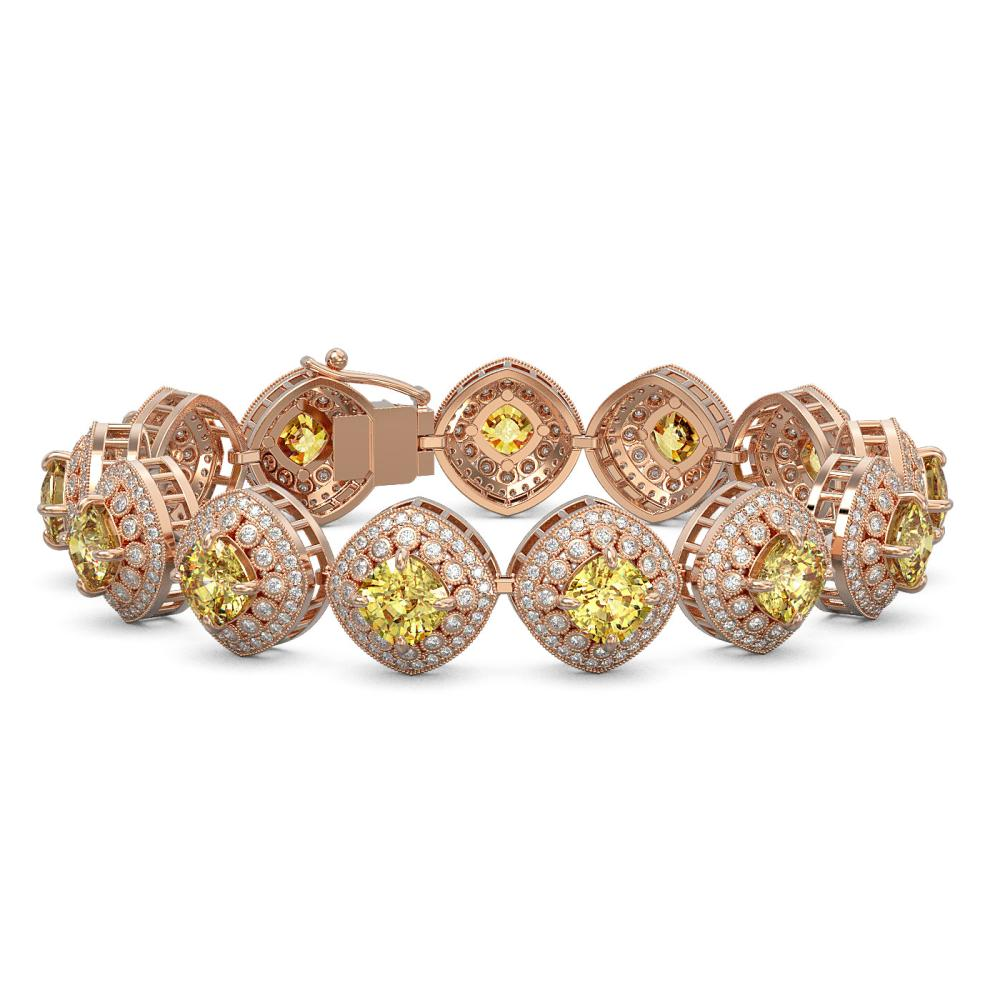 28.35 ctw Canary Citrine & Diamond Bracelet 14K Rose Gold - REF-805A5V - SKU:44160