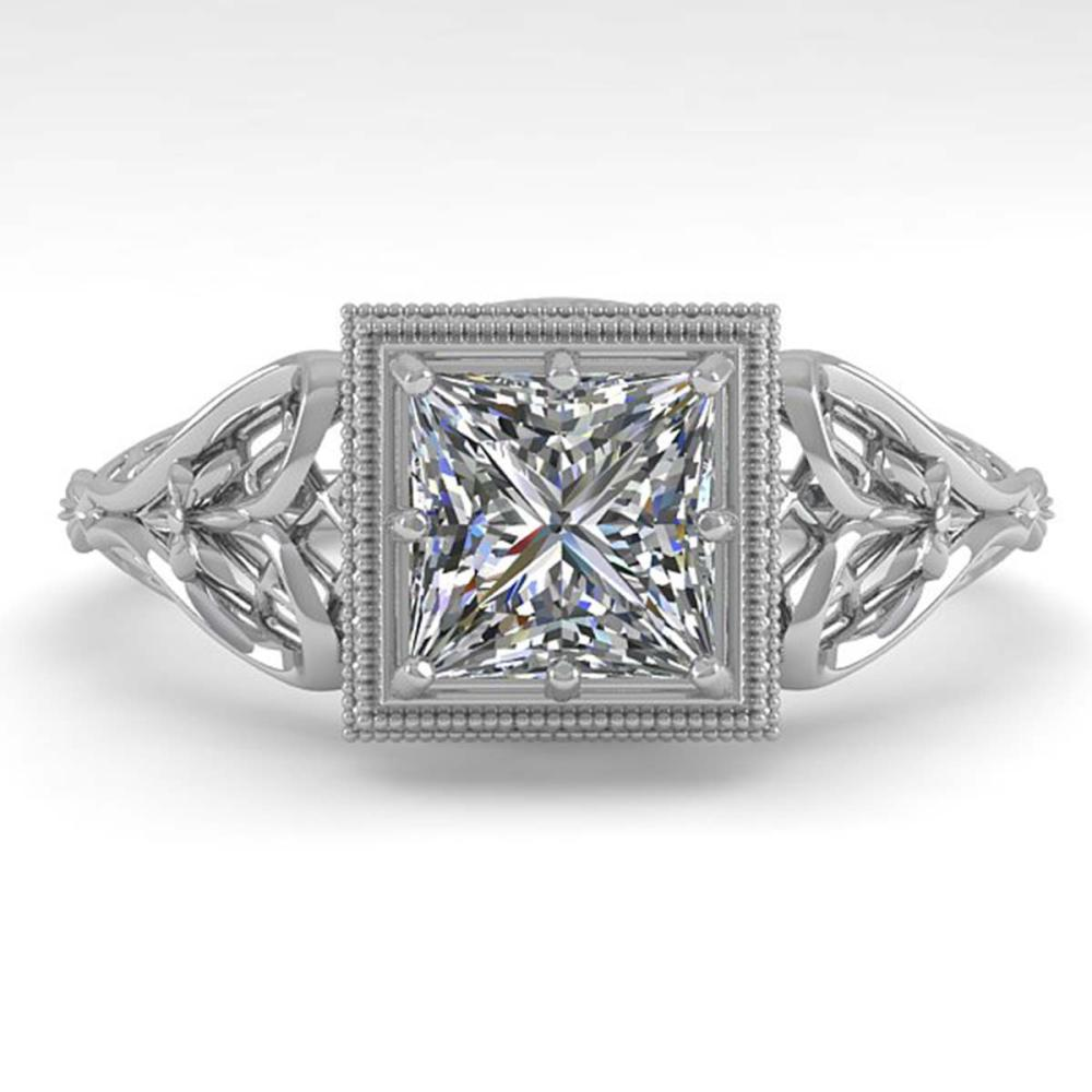 1.0 ctw VS/SI Princess Diamond Art Deco Ring 18K White Gold - REF-344F4N - SKU:36042