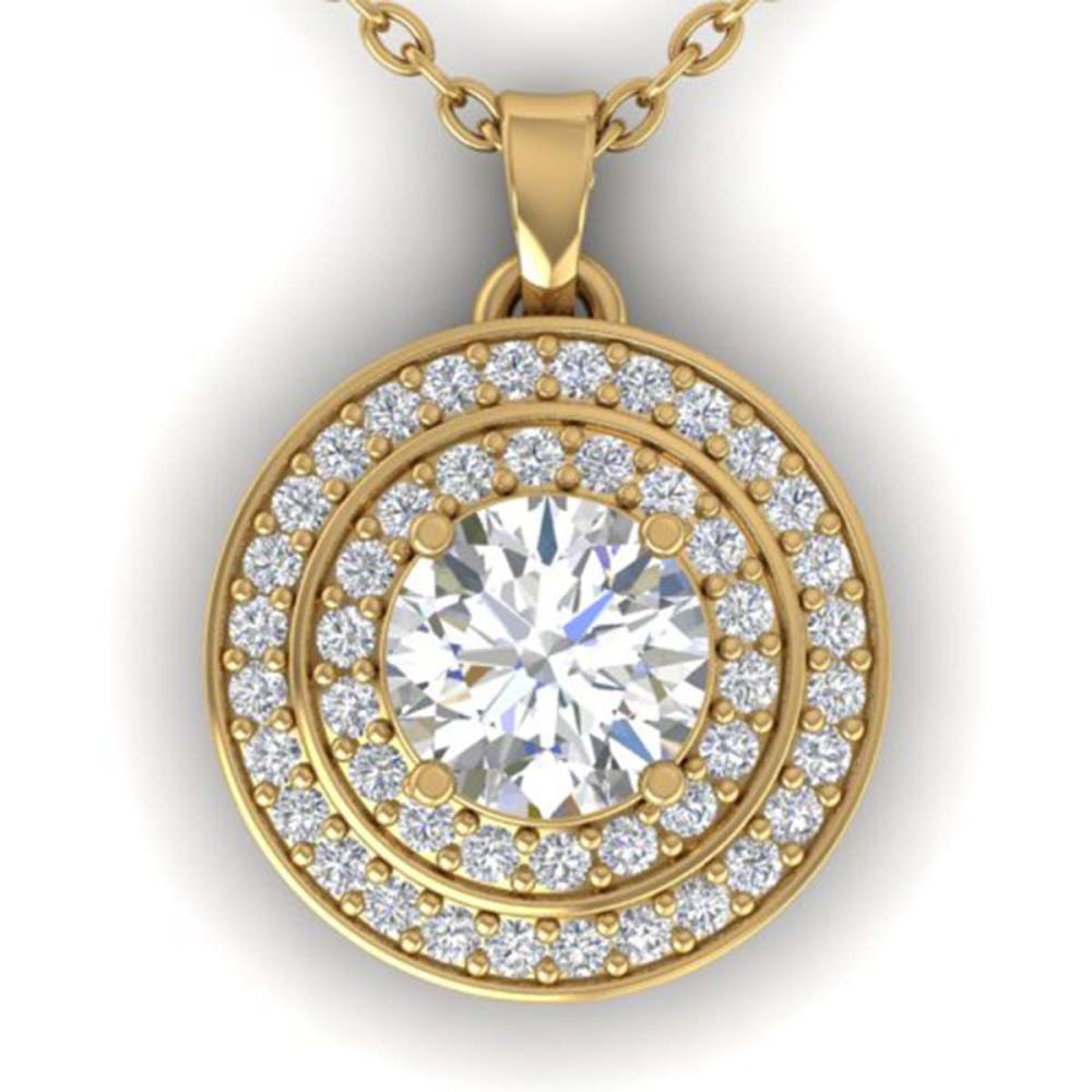 0.90 ctw VS/SI Diamond Art Deco Halo Necklace 14K Yellow Gold - REF-116F4N - SKU:30371