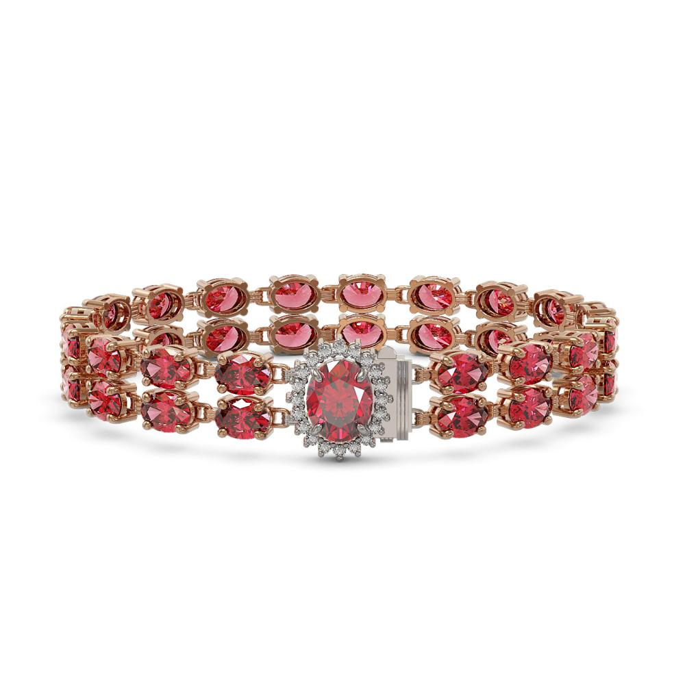 26.92 ctw Tourmaline & Diamond Bracelet 14K Rose Gold - REF-225H5M - SKU:45498
