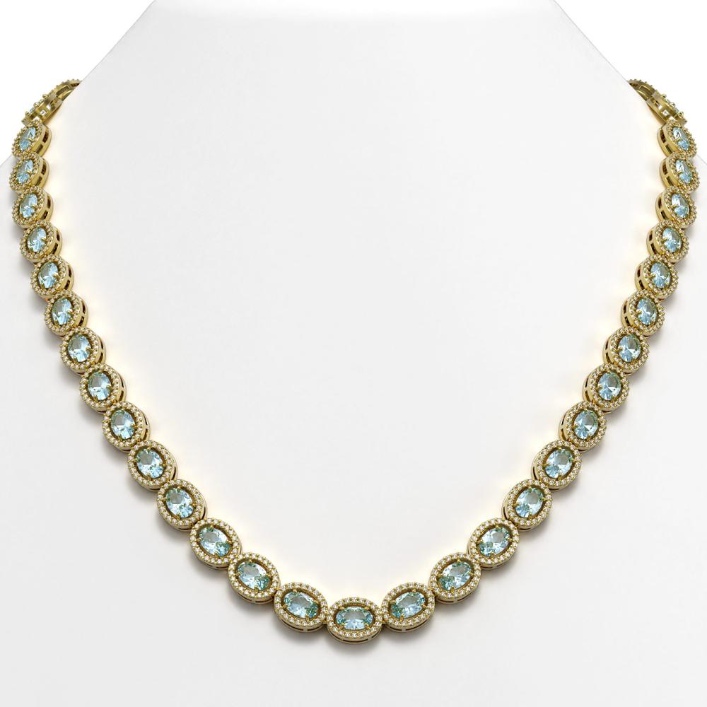 33.25 ctw Sky Topaz & Diamond Halo Necklace 10K Yellow Gold - REF-501K5W - SKU:40432