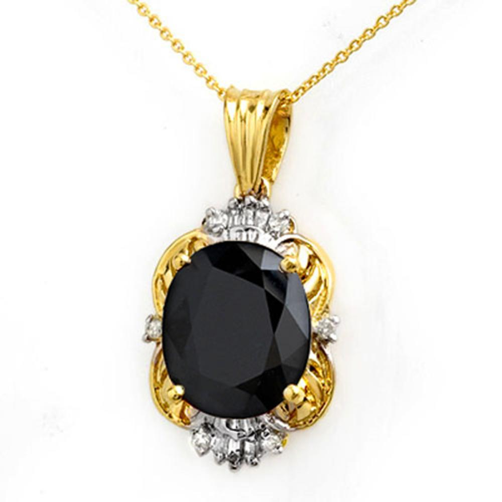 8.59 ctw Blue Sapphire & Diamond Pendant 14K Yellow Gold - REF-81F8N - SKU:14102