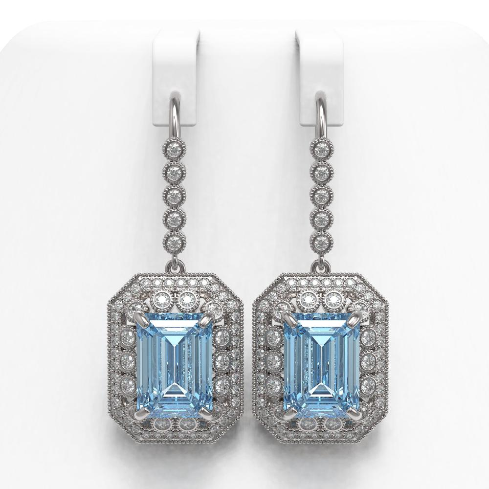 24.81 ctw Sky Topaz & Diamond Earrings 14K White Gold - REF-365W5H - SKU:43529
