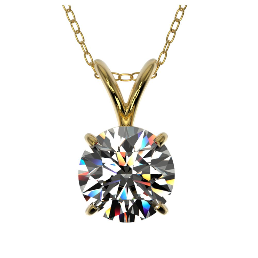 1 ctw H-SI/I Diamond Solitaire Necklace 10K Yellow Gold - REF-180Y2X - SKU:33184