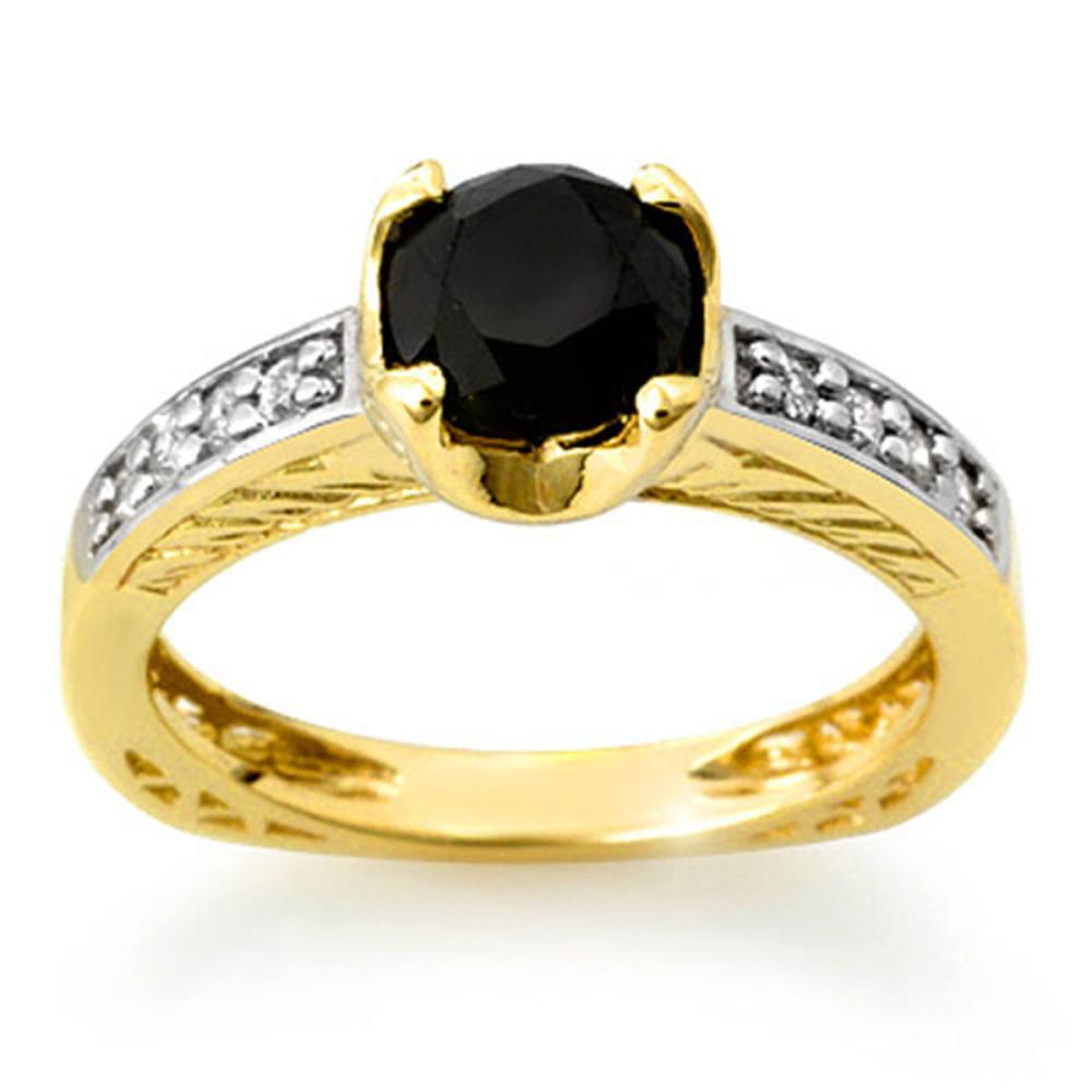 1.85 ctw VS Black & White Diamond Ring 14K Yellow Gold - REF-92N2A - SKU:11804