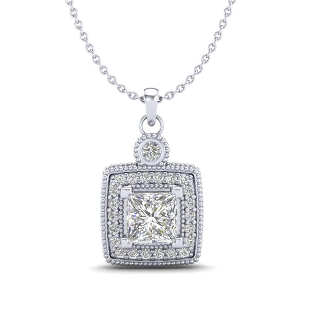 0.91 ctw Princess VS/SI Diamond Art Deco Stud Necklace 18K White Gold - REF-145M5F - SKU:37130