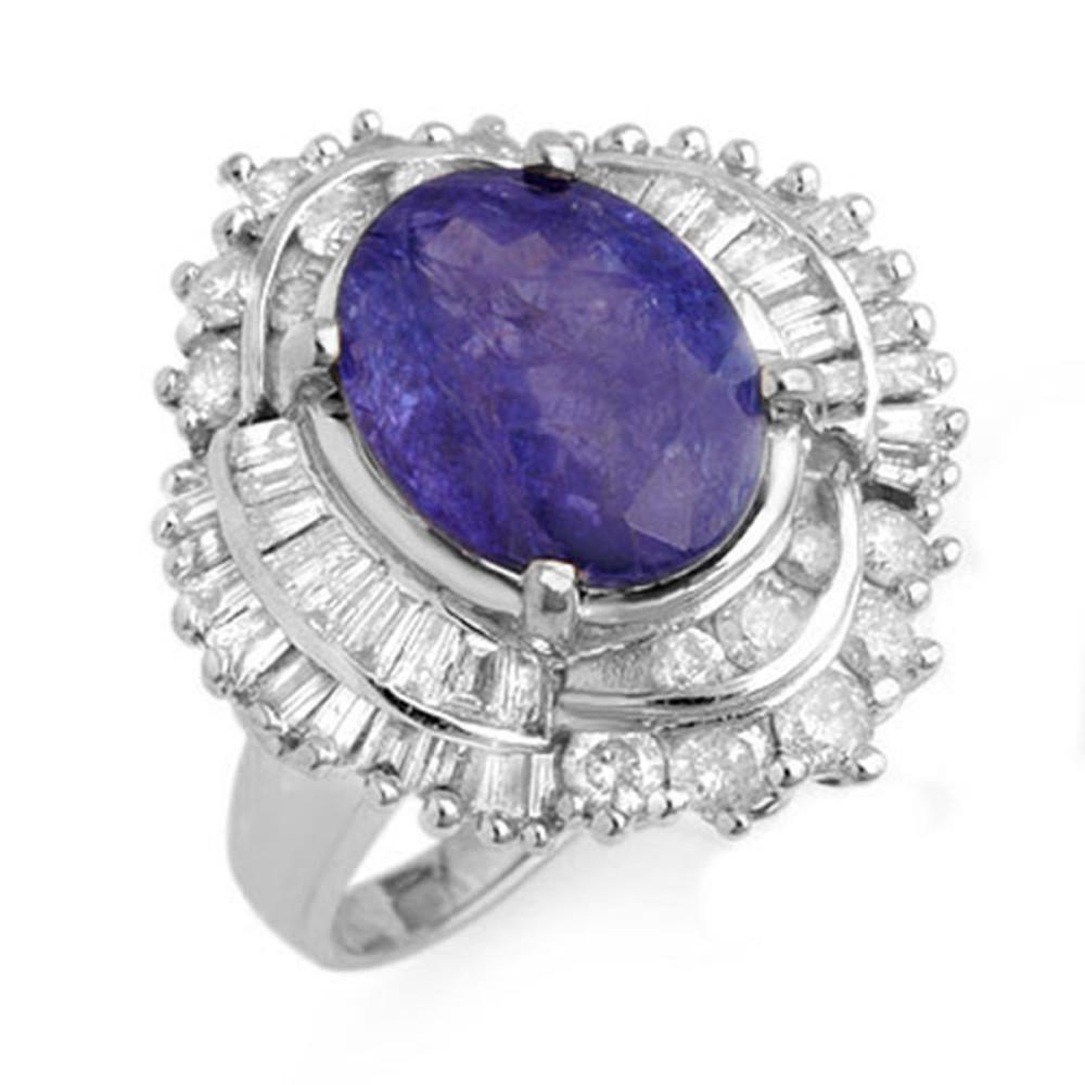 6.0 ctw Tanzanite & Diamond Ring 18K White Gold - REF-287V6Y - SKU:13961