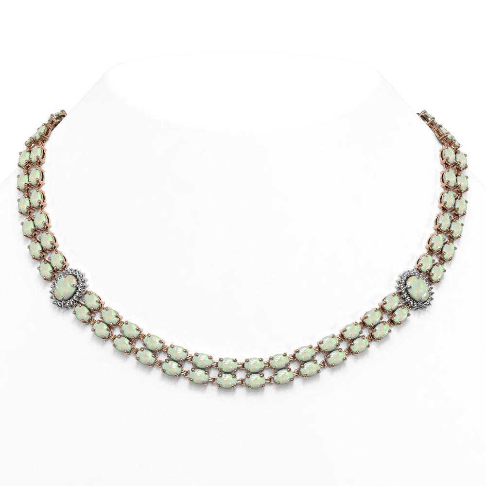 39.37 ctw Opal & Diamond Necklace 14K Rose Gold - REF-604N9A - SKU:44355
