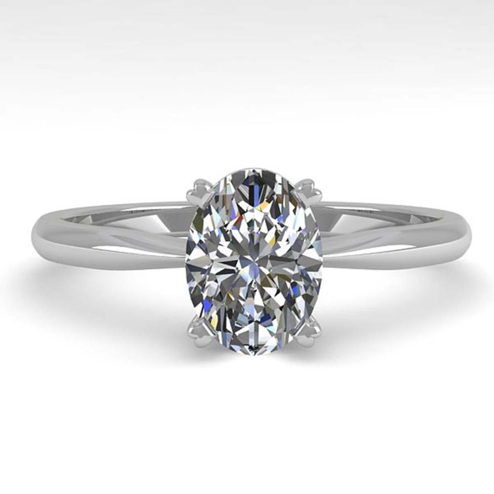 1.02 ctw VS/SI Oval Cut Diamond Ring 18K White Gold - REF-285F2N - SKU:32412