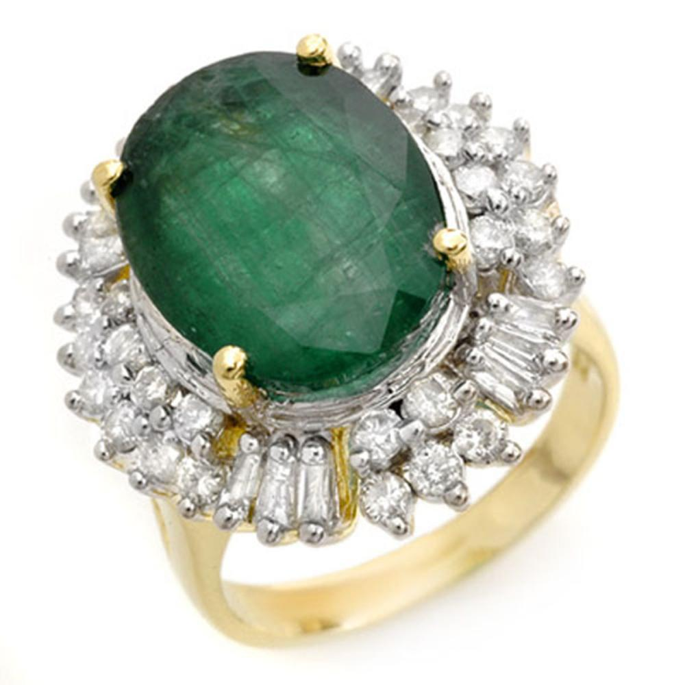 11.75 ctw Emerald & Diamond Ring 14K Yellow Gold - REF-246W4H - SKU:14412