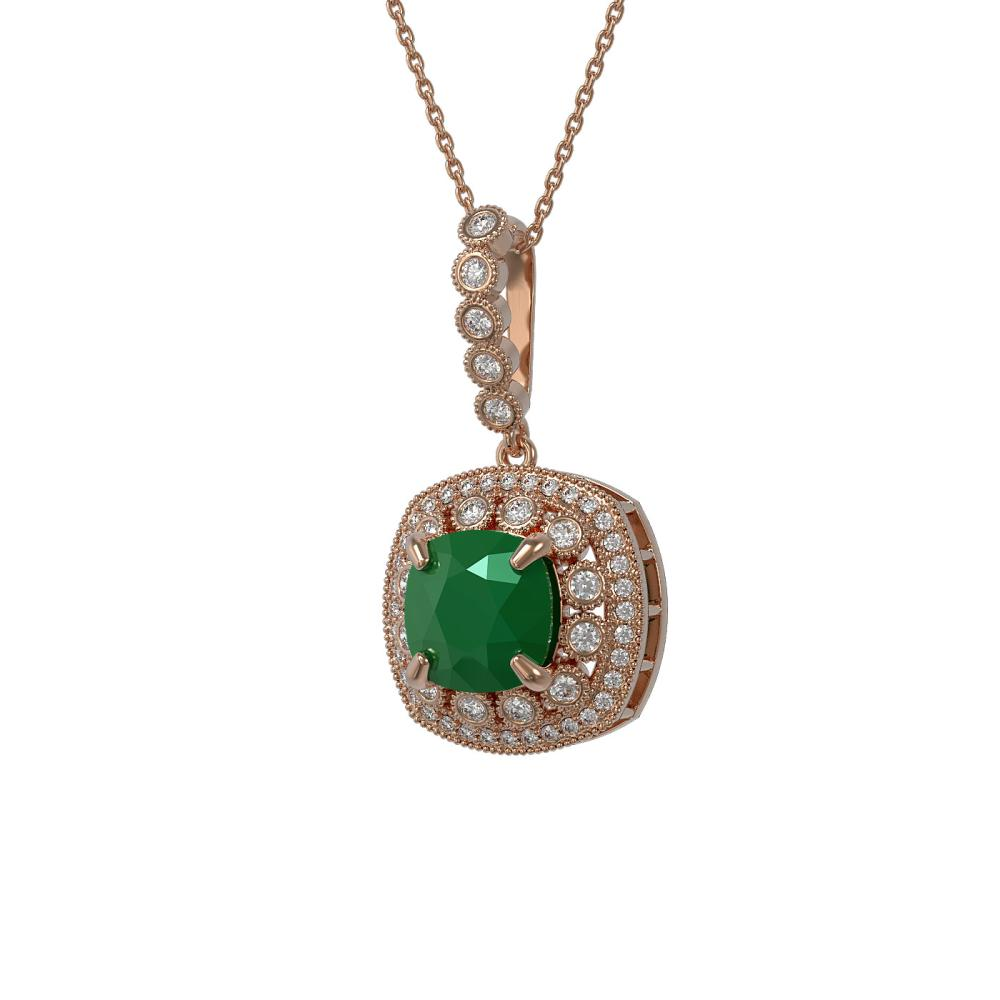 6.58 ctw Emerald & Diamond Necklace 14K Rose Gold - REF-150X2R - SKU:44001