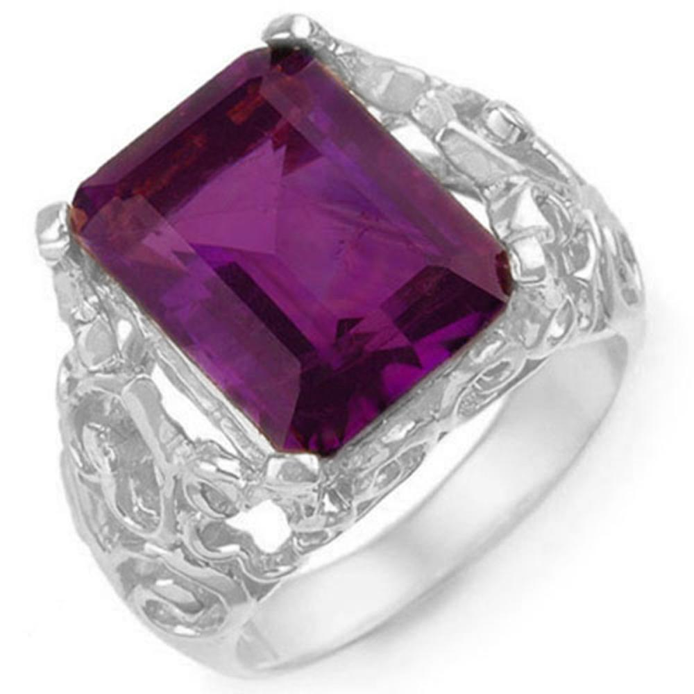 8.03 ctw Amethyst & Diamond Ring 10K White Gold - REF-42X9R - SKU:10915