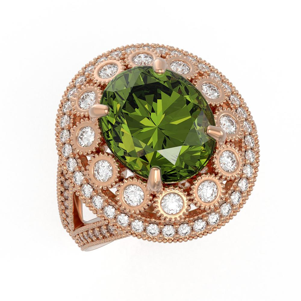 7.66 ctw Tourmaline & Diamond Ring 14K Rose Gold - REF-215H3M - SKU:43758