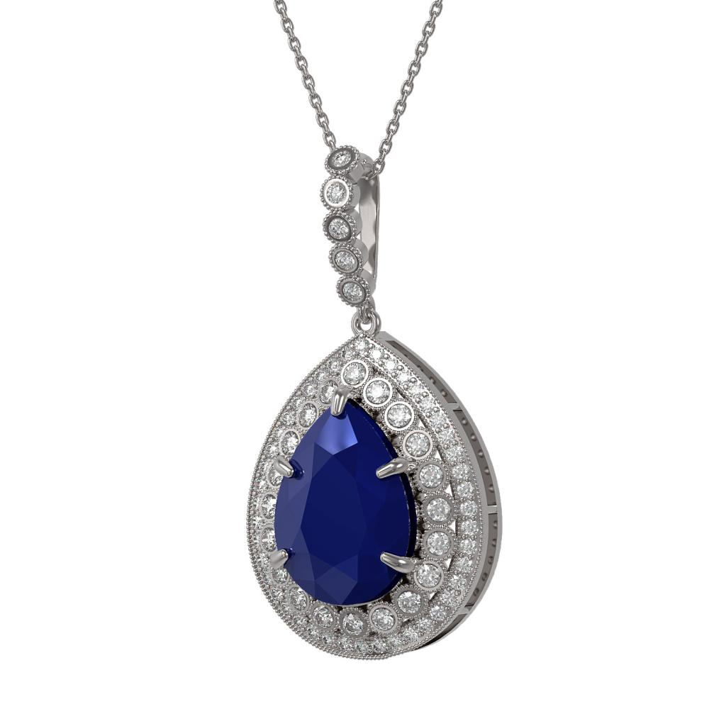 15.87 ctw Sapphire & Diamond Necklace 14K White Gold - REF-281H8M - SKU:43322