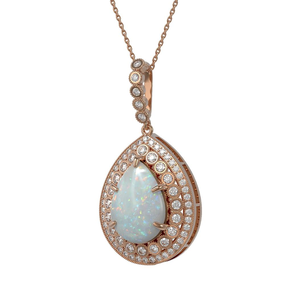 10.77 ctw Opal & Diamond Necklace 14K Rose Gold - REF-313K3W - SKU:43332