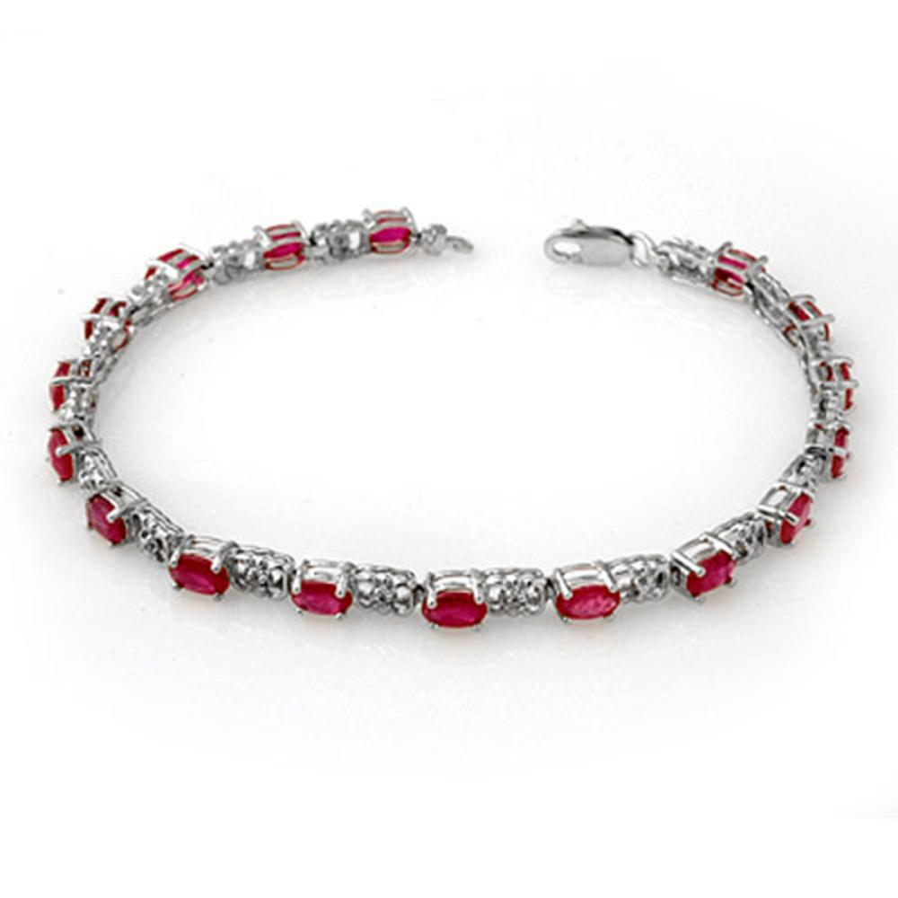 7.12 ctw Ruby & Diamond Bracelet 14K White Gold - REF-80H9M - SKU:13953