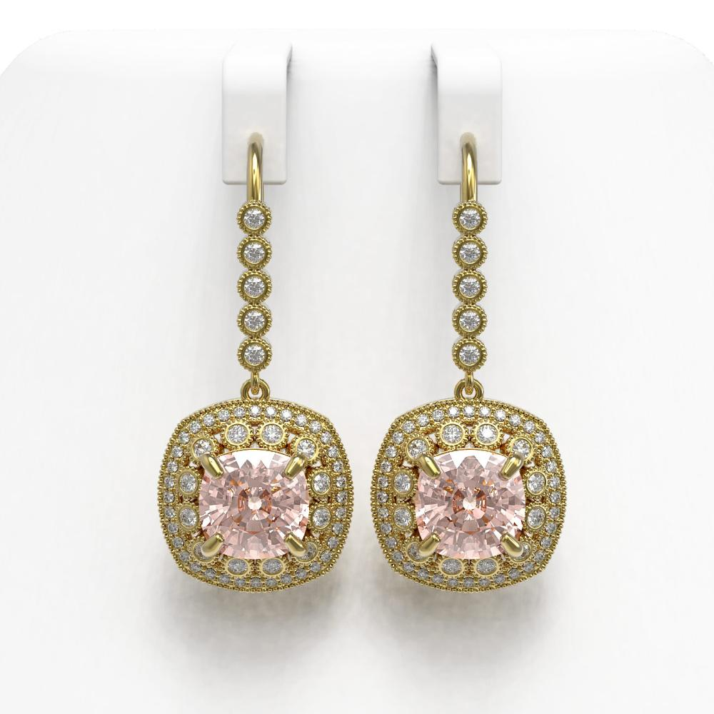 11.6 ctw Morganite & Diamond Earrings 14K Yellow Gold - REF-393F3N - SKU:43975