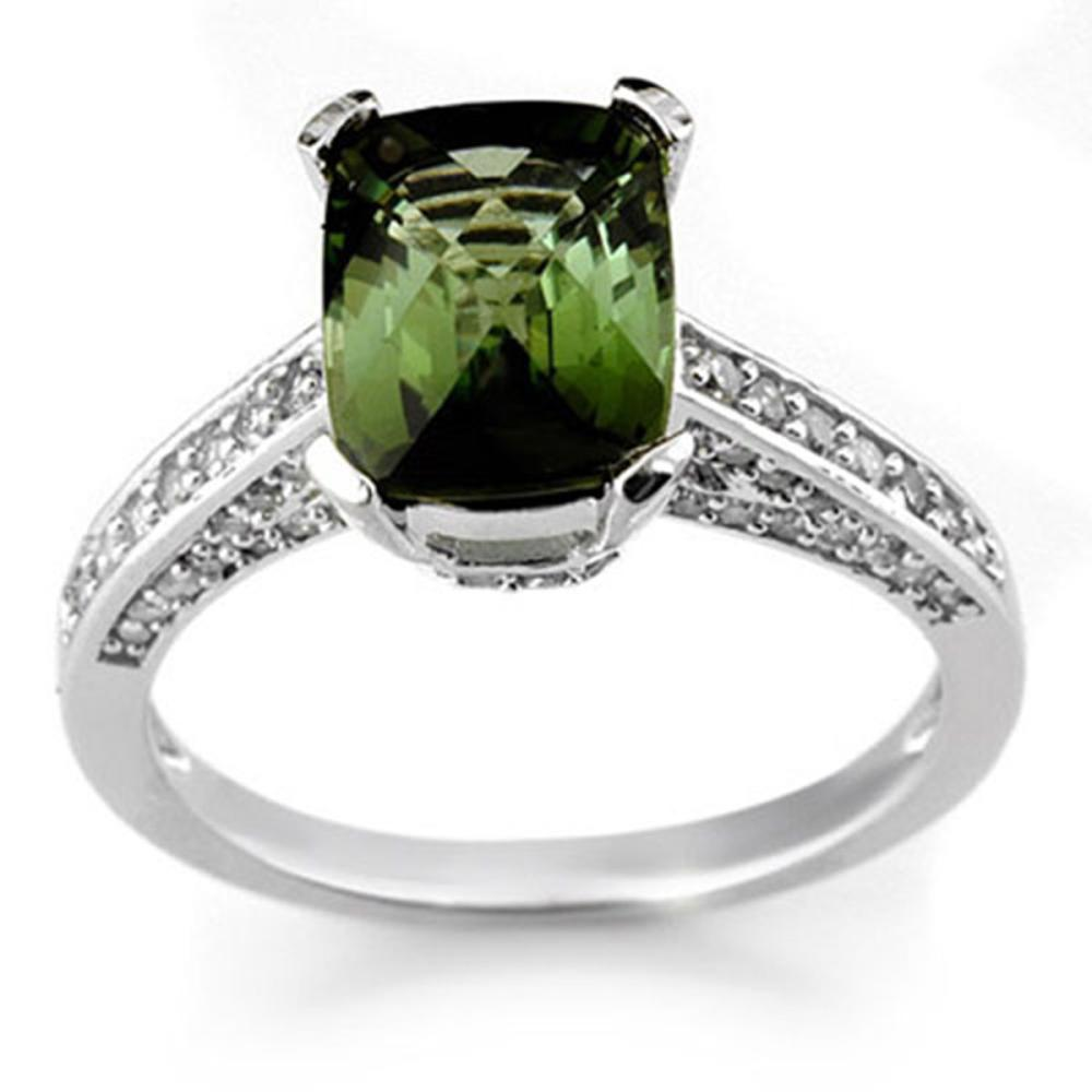 3.50 ctw Green Tourmaline & Diamond Ring 18K White Gold - REF-94H5M - SKU:11066