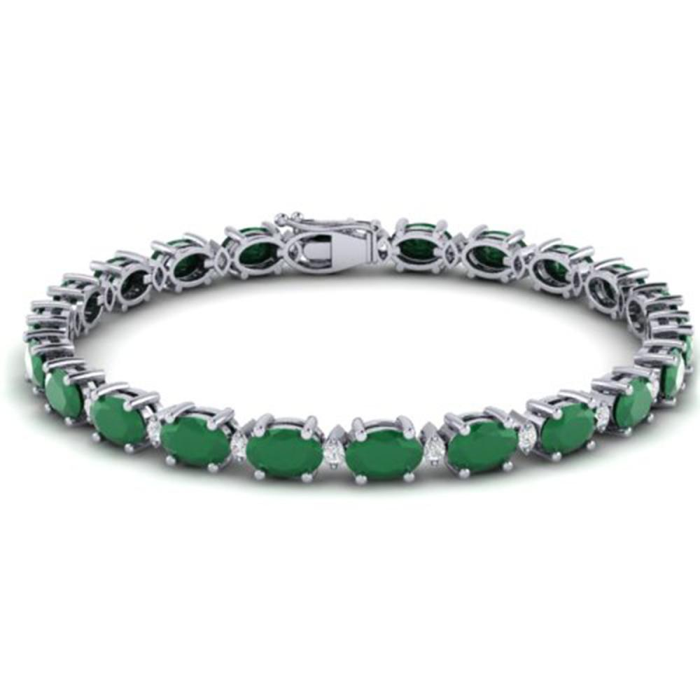 23.5 ctw Emerald & VS/SI Diamond Eternity Bracelet 10K White Gold - REF-161W8H - SKU:29366
