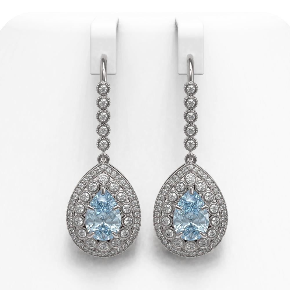 7.56 ctw Aquamarine & Diamond Earrings 14K White Gold - REF-310R4K - SKU:43157
